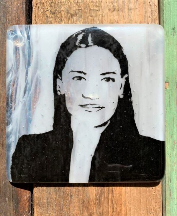 Alexandria Ocasio-Cortez Single Glass Coaster