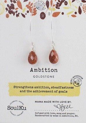 Brown Goldstone Gemstone Soul-Full of Light Long Earrings for Ambition