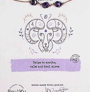 Aries Zodiac Necklace With Amethyst Gemstones