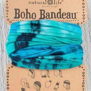 Boho Bandeau Turquoise Navy Tie Dye