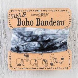 Half Boho Bandeau Black and White Tie Dye