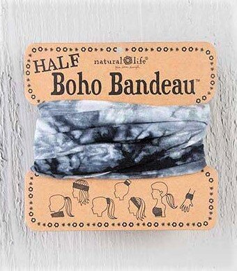 Half Boho Bandeau Black and White Tie Dye