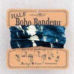 Half Boho Bandeau Tie Dye Indigo Cream