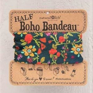 Half Boho Bandeau  Blue Folk Floral