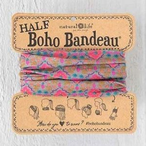 Half Boho Bandeau Grey Pink Moroccan