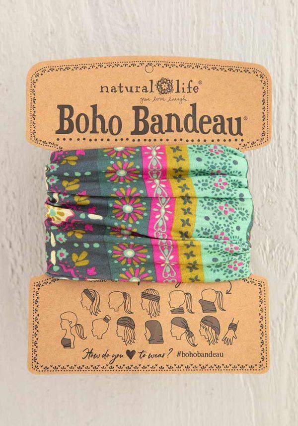 Boho Bandeau Green Stripe Print