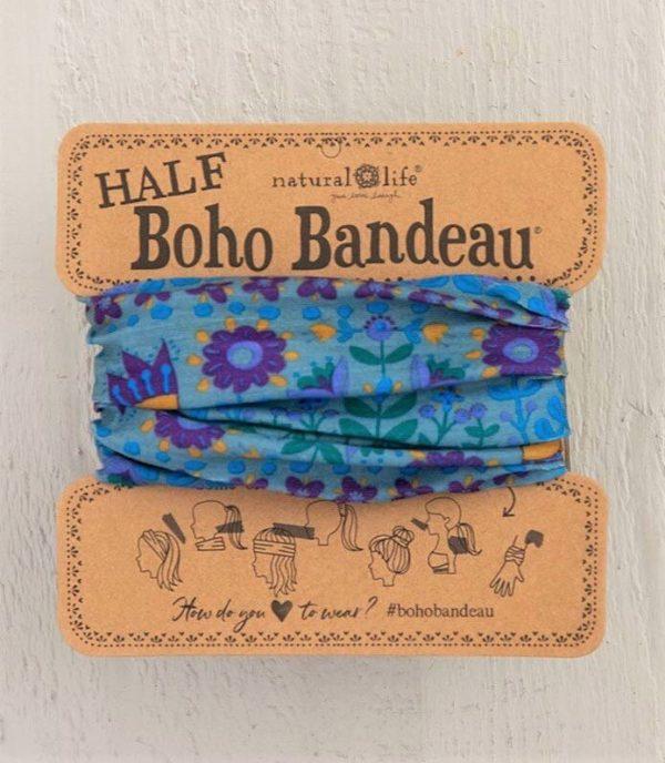 Half Boho Bandeau Blue Flower Mandala