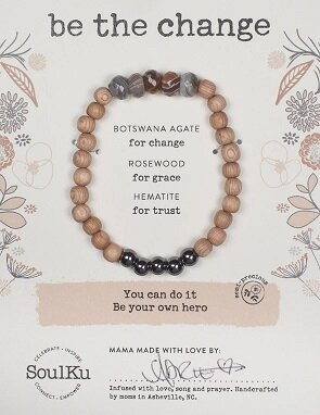"Botswana Agate Gemstone ""Be The Change"" Be Your Own Hero Bracelet"