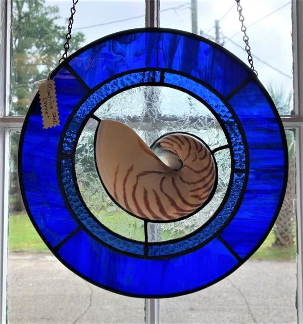 Nautilus Dance Stained Glass Art by Susan Frisbee- Cobalt
