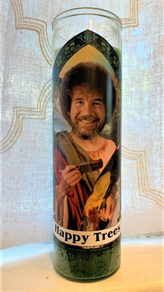 Bob Ross Icon Candle