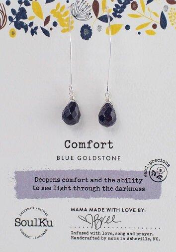 Blue Goldstone Gemstone Soul-Full of Light Long Earrings for Comfort