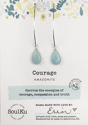 Amazonite Gemstone Soul-Full of Light Long Earrings for Courage