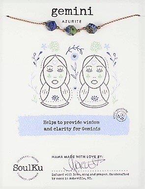 Gemini Zodiac Necklace with Azurite Gemstones