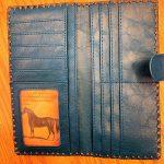 Pop Floral Vegan Leather Large Embroidered Wallet -Blue Multi