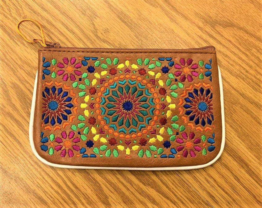 Moroccan Pattern Embroidered Vegan Leather Small Pouch -Caramel Multi