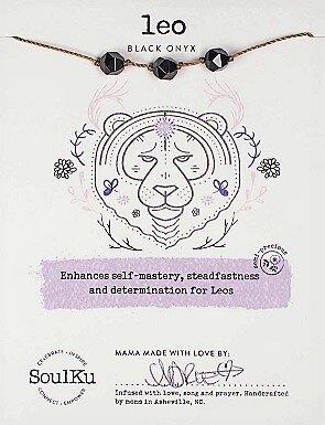 Leo Zodiac Necklace with Black Onyx Gemstones