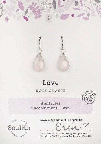 Rose Quartz Gemstone Soul-Full of Light Earrings for Unconditional Love