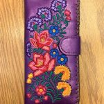 Mexican Flora Vegan Leather Large Embroidered Wallet -Purple Multi