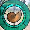 Nautilus Dance Stained Glass Art by Susan Frisbee- Sea Green