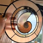 Nautilus Dance Stained Glass Art by Susan Frisbee- Shell Pink