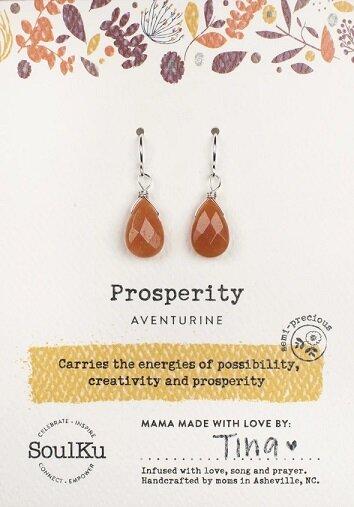 Aventurine Gemstone Soul-Full of LIGHT Earrings for Prosperity