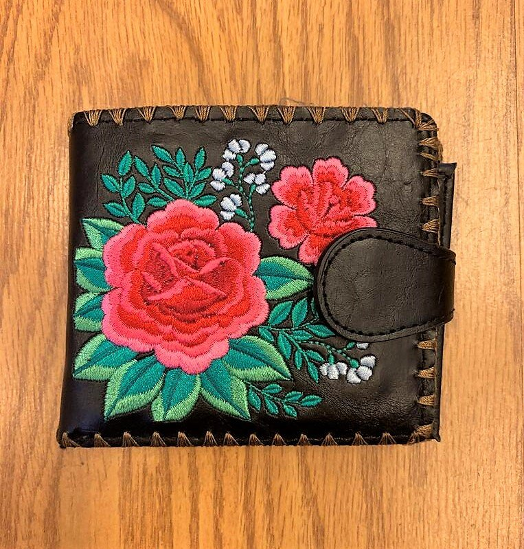 Mexican Rose Pattern Vegan Leather Medium Embroidered Wallet -Black Multi