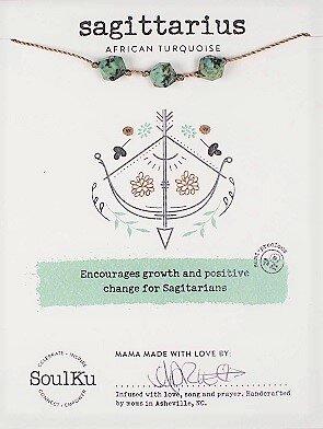 Sagittarius Zodiac Necklace with African Turquoise Gemstones