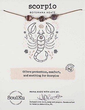 Scorpio Zodiac Necklace with Botswana Agate Gemstones