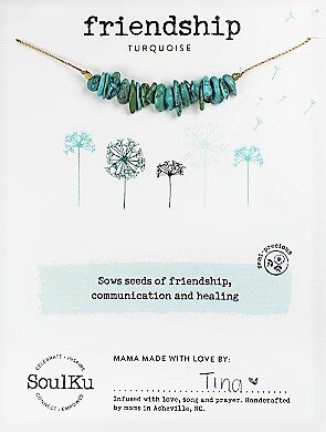 Soulku Turquoise Gemstone SEED Necklace for Friendship