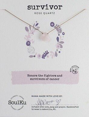 Rose Quartz Gemstone Soul-Full of LIGHT Necklace for Cancer Survivors