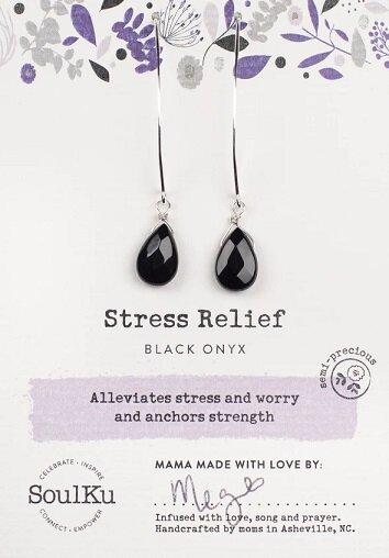 Black Onyx Gemstone Soul-Full of Light Long Earrings for Stress Relief