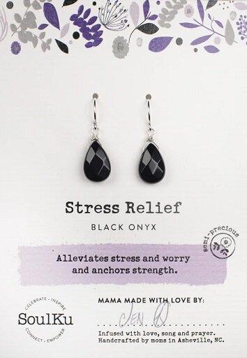 Black Onyx Gemstone Soul-Full of LIGHT Earrings for Stress Relief