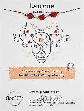 Taurus Zodiac Necklace with Carnelian Gemstones