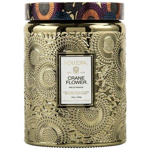 Crane Flower Large Glass Jar Candle