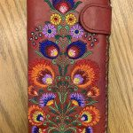 Bohemian Flower Pattern Vegan Leather Large Embroidered Wallet -Rich Red Multi